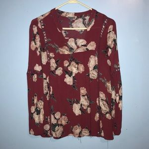 Long sleeve floral Charlotte Russe shirt size S